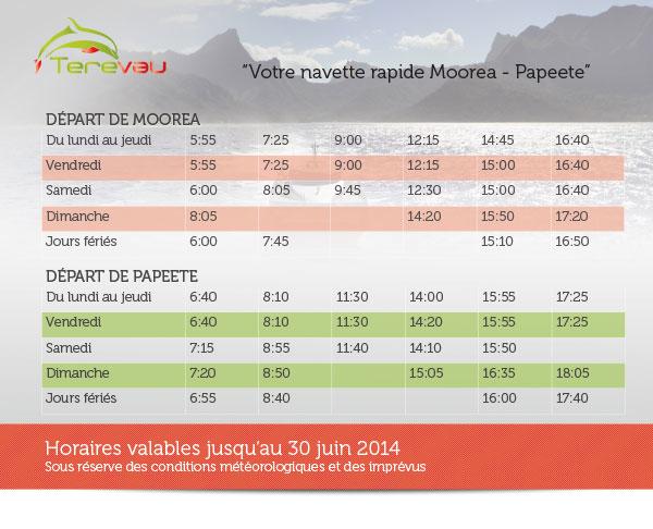 Les horaires et tarifs du TEREVAU...